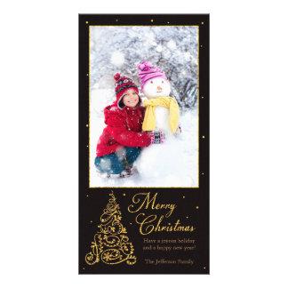 Ornate Christmas Tree Black Glitter Photo Card Template