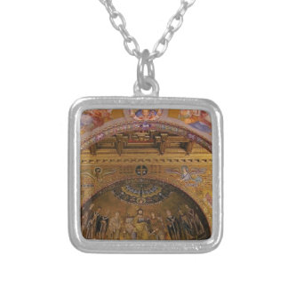 ornate church inside silver plated necklace