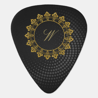 Ornate Circle Monogram on Black Circular Guitar Pick