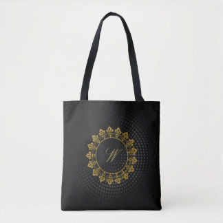 Ornate Circle Monogram on Black Circular Tote Bag
