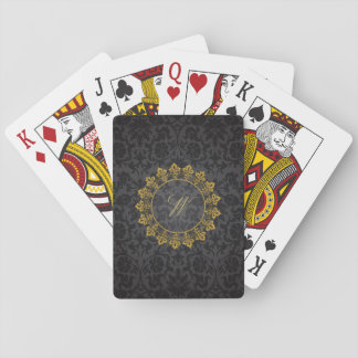 Ornate Circle Monogram on Black Damask Playing Cards