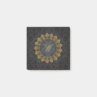 Ornate Circle Monogram on Black Damask Post-it Notes