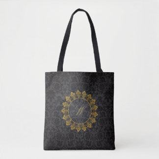 Ornate Circle Monogram on Black Damask Tote Bag