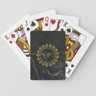 Ornate Circle Monogram on Black Marble Playing Cards