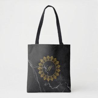 Ornate Circle Monogram on Black Marble Tote Bag