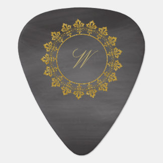 Ornate Circle Monogram on Chalkboard Guitar Pick