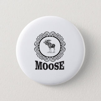 ornate circle moose 2 inch round button