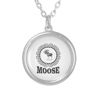 ornate circle moose silver plated necklace