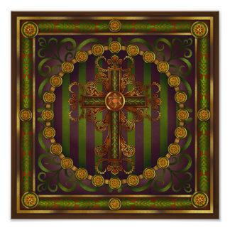 Ornate Cross Mandala Print by Rachel C Bemis Photo Art
