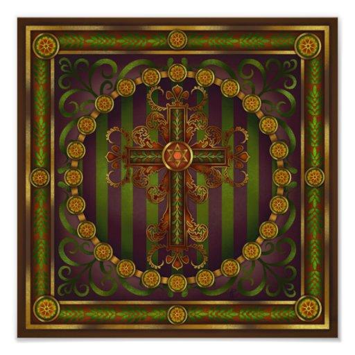 Ornate Cross Mandala Print by Rachel C. Bemis Photo Art