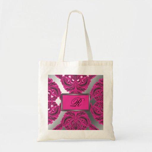 Ornate Damask Pink, Black, Silver Tote Bags