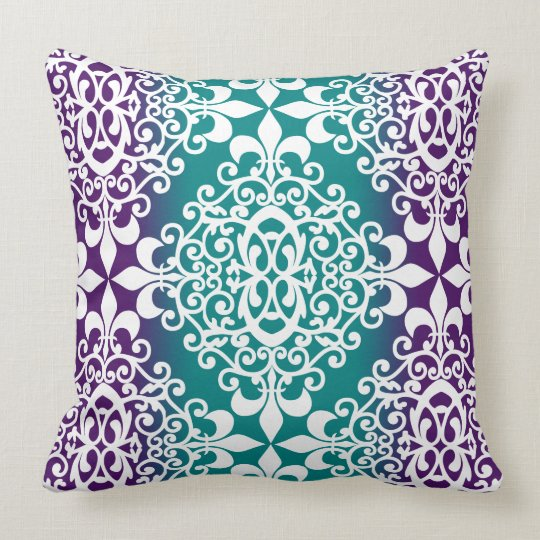 Ornate Damask Purple And Teal Ombre Throw Pillow