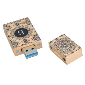 Ornate Dark Blue Paisley Mandala Wood USB 3.0 Flash Drive