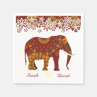 Ornate Decorated Indian Elephant Design Disposable Napkin