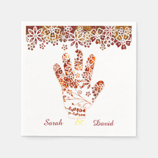 Ornate Decorated Mehndi Henna Hand Design Disposable Napkin