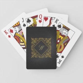 Ornate Diamond Monogram on Black Circular Playing Cards