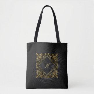 Ornate Diamond Monogram on Black Circular Tote Bag