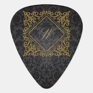 Ornate Diamond Monogram on Black Damask Guitar Pick