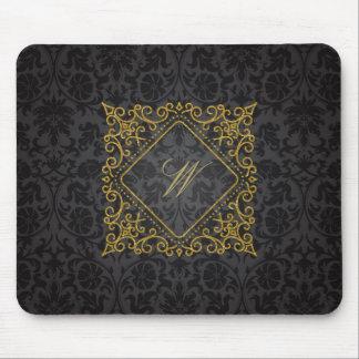 Ornate Diamond Monogram on Black Damask Mouse Pad