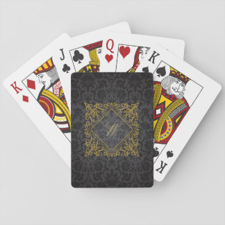Ornate Diamond Monogram on Black Damask Playing Cards