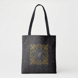 Ornate Diamond Monogram on Black Damask Tote Bag