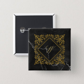 Ornate Diamond Monogram on Black Marble 2 Inch Square Button