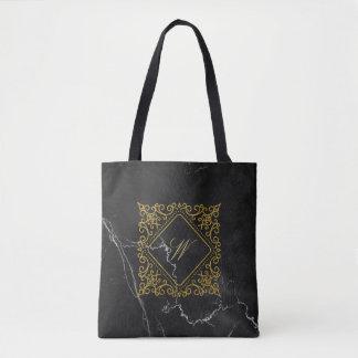 Ornate Diamond Monogram on Black Marble Tote Bag
