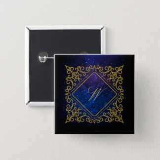 Ornate Diamond Monogram on Blue Galaxy 2 Inch Square Button