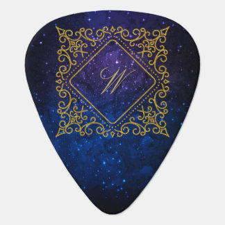 Ornate Diamond Monogram on Blue Galaxy Guitar Pick