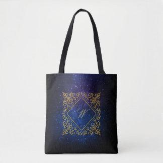 Ornate Diamond Monogram on Blue Galaxy Tote Bag