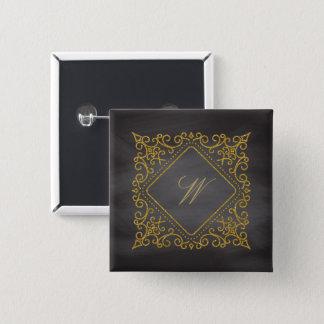 Ornate Diamond Monogram on Chalkboard 2 Inch Square Button