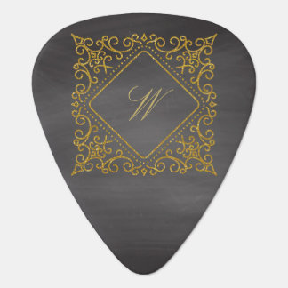 Ornate Diamond Monogram on Chalkboard Guitar Pick