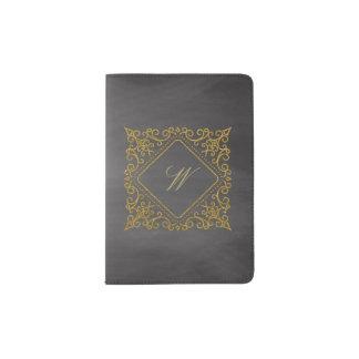 Ornate Diamond Monogram on Chalkboard Passport Holder