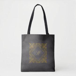 Ornate Diamond Monogram on Chalkboard Tote Bag