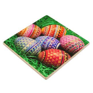Ornate Easter Eggs Wood Coaster