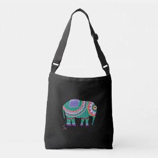 Ornate Elephant, Black Cross Body Bag