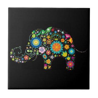 Ornate Elephant Ceramic Tile