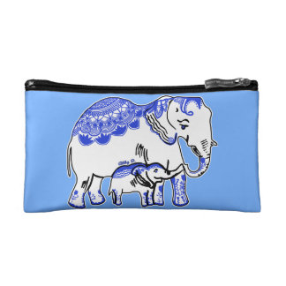 Ornate Elephants Blue and White Cosmetic Bag