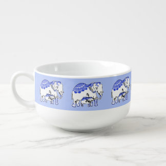 Ornate Elephants Blue and White Soup Mug