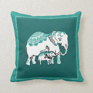 Ornate Elephants Deep Green Pillow