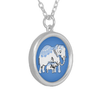 Ornate Elephants Powder Blue and White Necklace