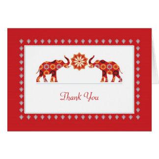 Ornate Elephants Thank You Card