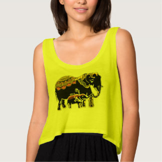 Ornate Elephants Women's Flowy Crop Tank Top