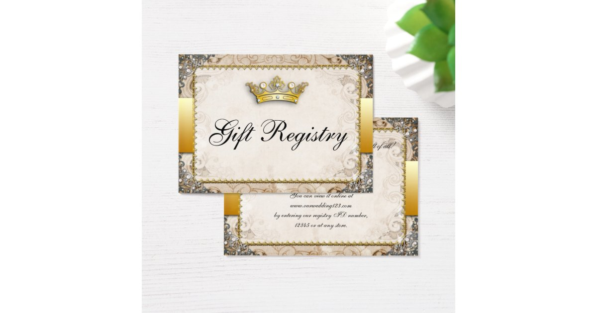 Storybook Wedding Gift : Ornate Fairytale Storybook Wedding Gift Registry Business Card ...