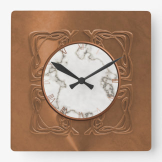 Ornate Faux Copper Square Wall Clock