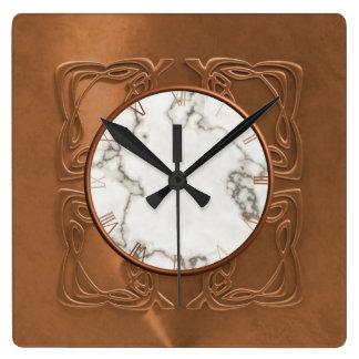 Ornate Faux Copper Square Wall Clock