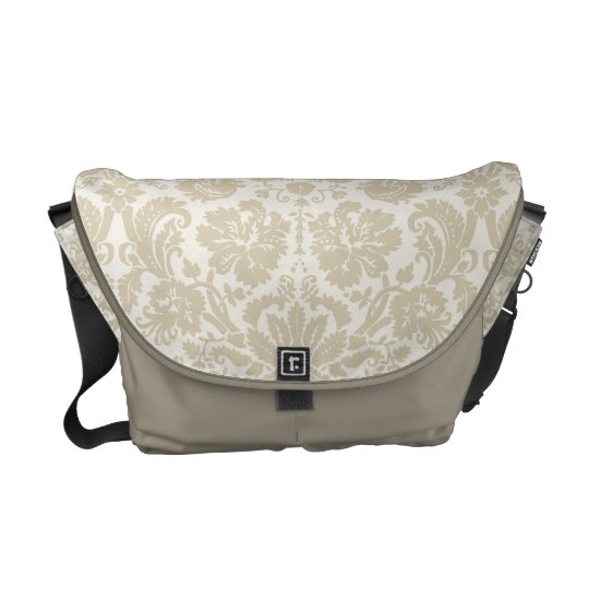 Ornate floral art nouveau pattern 2 beige messenger bags