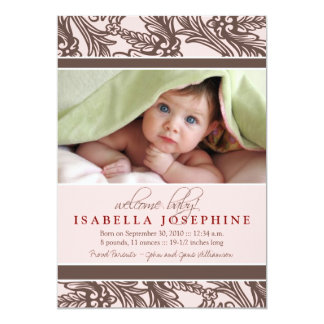 Ornate Floral Baby Birth Announcement (pink)