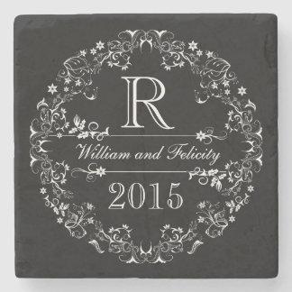 Ornate Floral Chalkboard Monogram Wedding Year Stone Coaster