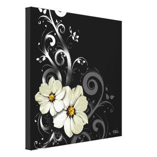 Ornate Floral Flourish | black Stretched Canvas Prints